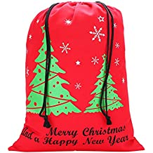 Canvas Christmas Drawstring Gift Bag - Great for Large and Small Holiday Favors - Designed for Women, Kids, and Men - The Perfect Santa Sack for a Merry and White Christmas - Quality, Sturdy Material