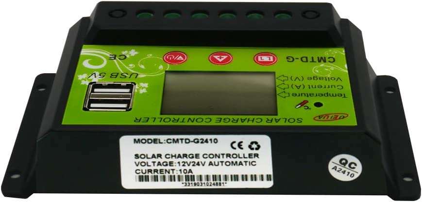 UEIUA Solar Charge Controller D20A Solar Charge Controller 12V//24V Auto Paremeter Adjustable PWM LCD Solar Controller Regulator with Dual USB