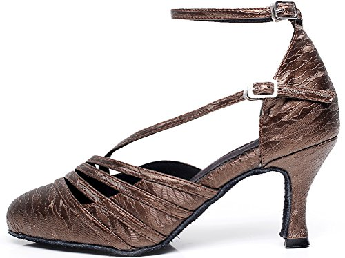 Round Womens Dance Cha Tango Heel Latin Satin CFP Party Mid shoes Salsa Grey Cha 1xqRqzf