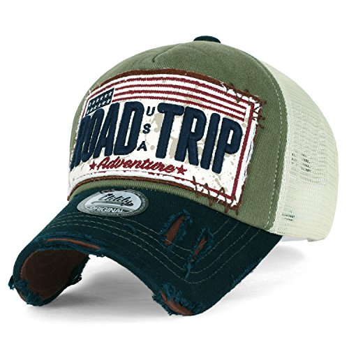 Mesh Vintage Cap (ililily Road Trip Vintage Distressed Snapback Trucker Hat Baseball Cap, Olive Green)