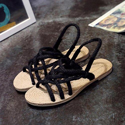 Ansenesna Mujer Baratas TalóN Plano Cruz Mujeres 2018 Sandalias Bajo Mujer Tacon Zapatos Moda Atada Roma Tejer Negro Vestir Verano 5r61rFxn