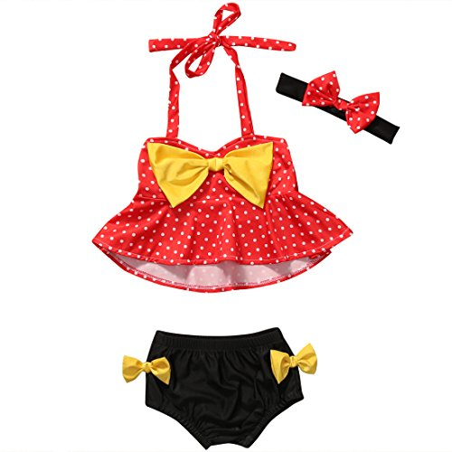 3Pcs Toddler Baby Girl Dot Bikini Set Red Halter Bowknot Tube Top+Black Short Bottom+Headband Bathing Suit Swimwear(12-24M)