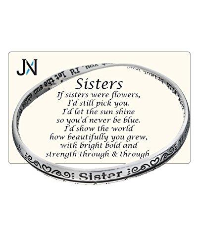 Silver-tone Sisters Twist Bangle Bracelet Prayer Card Included by Jewelry (Prayer Bangle Silver Tone Bracelet)