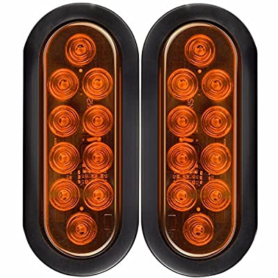 "NEW SUN 6"" Oval Sealed Stop Turn Signal Tail Lights Flush Mount 24 LED 12V for Truck Trailers - Grommet and 3 Prong Plug"