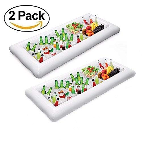 (Inflatable Pool Table Serving Bar - Bamshoot 2 PCS Inflatable Serving/Salad Bar Tray Food Drink Holder for Party Picnic BBQ Pool Party Buffet Luau Cooler,with a Drain Plug)