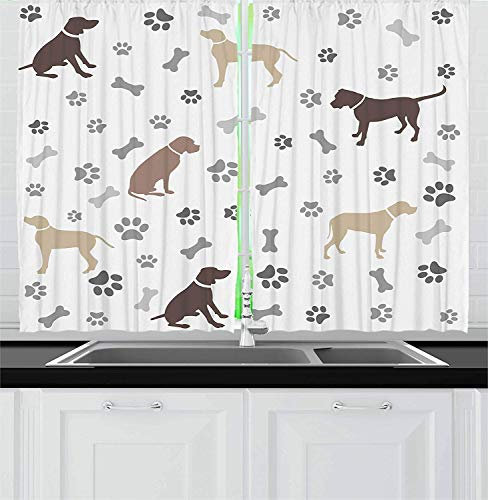 LQQBSTORAGE Dog Lover Kitchen Curtains,Paw Print Bones and Dog Silhouettes American Foxhound Breed Playful Pattern Home Décor Window Treatments Draperies 2 Panel Set W72 x L96/Pair Umber Beige Grey (The Fox And The Hound 2 Trailer)