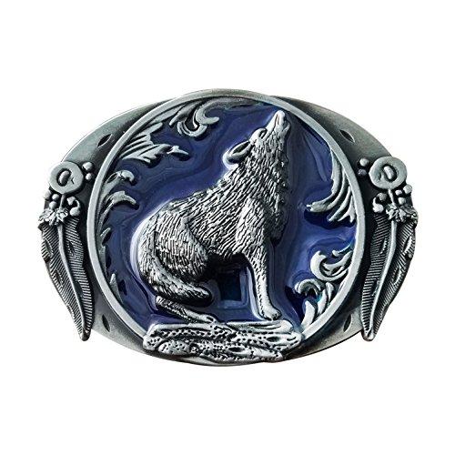 QUKE American Western Cowboy Arizona Howling Wolf Leaf Hunting Silver Belt Buckle Blue Enamel