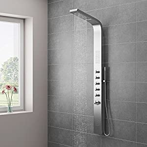 Milan Shower Tower Panel Stainless Steel Thermostatic Diy Tools