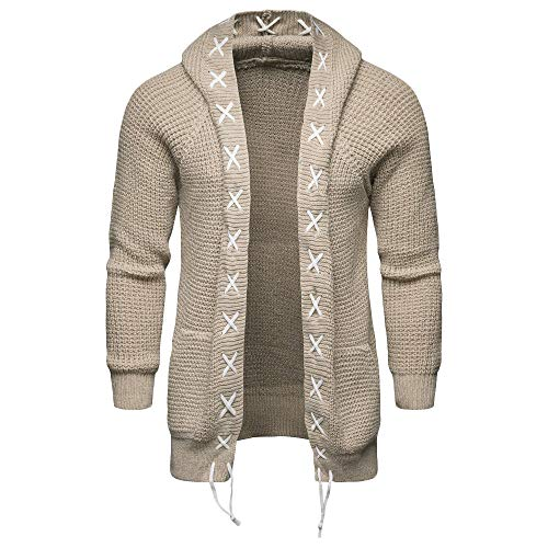 Men's Solid Trench Hooded Jacket Knit Casual Cardigan Long Sleeve Outwear Coat