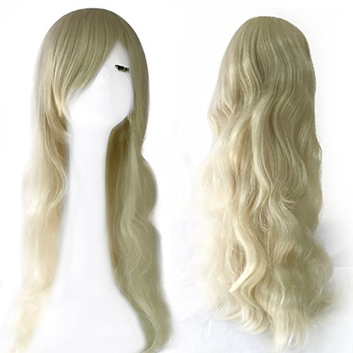 Blond Curly Wig for Lifelike Real Sex Doll Women Fake Hair Long Wig (Wig) by Ailijia