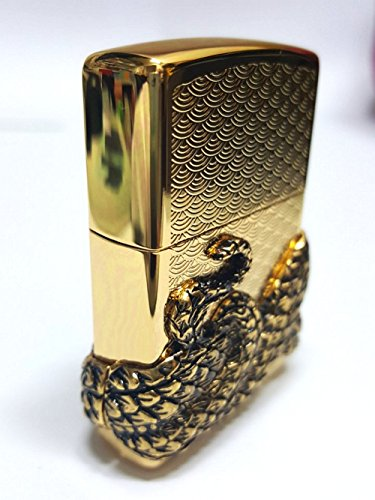Zippo Snake Coil Gold Lighter / Genuine Authentic / Original Packing (6 Flints set Free Gift) by Zippo (Image #2)