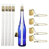 Wine Bottle Tiki Torch Kit 4 Pack by EricX Light, Includes 4 Long Life Tiki Torch Wicks ,Brass Tiki Torch Wick Holders And Brass Caps - Just Add Bottle for an Outdoor Wine Bottle Light