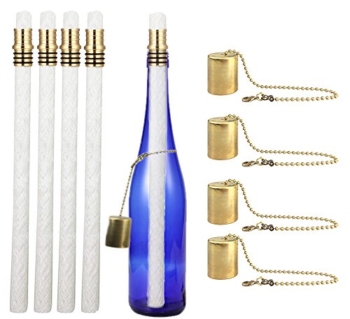 EricX Light Wine Bottle Tiki Torch Kit 4 Pack by, Includes 4 Long Life Tiki Torch Wicks,Brass Tiki Torch Wick Holders And Brass Caps - Just Add Bottle for an Outdoor Wine Bottle Light