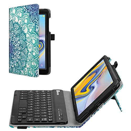 Fintie Folio Keyboard Case for Samsung Galaxy Tab A 8.0 2018 Model SM-T387 Verizon/Sprint/T-Mobile/AT&T, Premium PU Leather Stand Cover with Removable Wireless Bluetooth Keyboard, Emerald Illusions ()