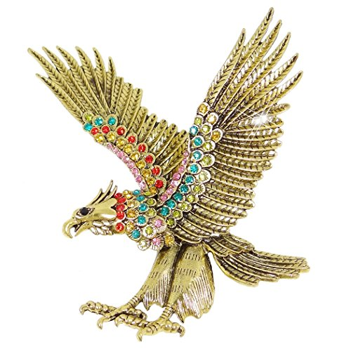 Crystal Vintage Style Big Eagle Animal Brooch Multicolor Antique Silver-Tone ()