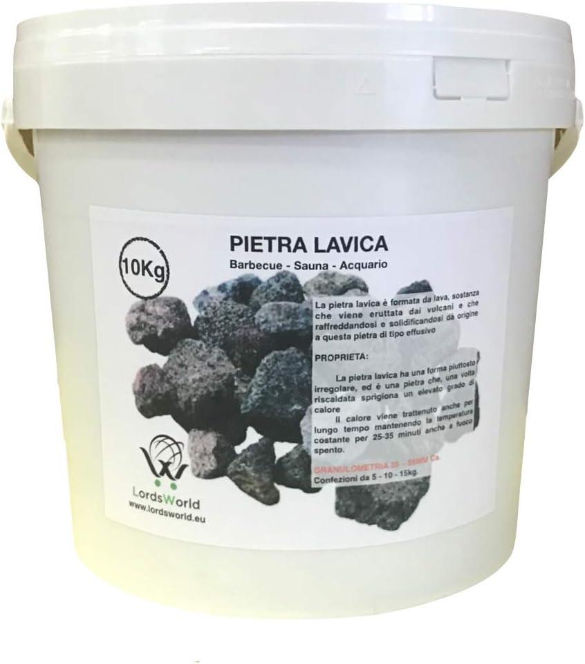 LordsWorld - Pietra Lavica - 10Kg Pietra Lavica para la Barbacoa, Sauna y decoración del Acuario - Roca de la Lava para la Barbacoa y el Gas Estufas - Pietralavica-10kg