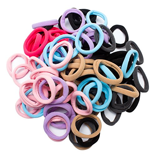Jaciya 100 Pack Girls No-damage Elastic HairBand Rope Tiny Ponytail Holder Mixed Colors Headband Accessories, 100 Pieces