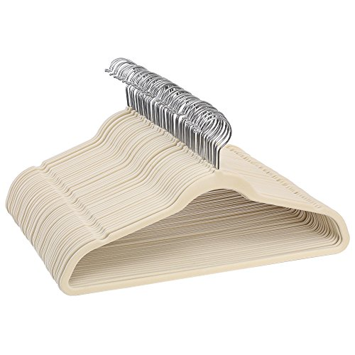 """SONGMICS Hangers 50 Pack, Velvet Non Slip, 0.18 lb per Hanger, Durable, 0.2"""" inch Thickness Space Saving, 360° Swivel Hooks, Beige UCRF50L"""