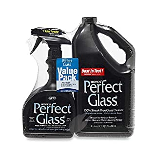 HOPE'S Perfect Glass Cleaner 2 Piece, 32 Ounce Spray 67.6 Ounce Refill Bottle, Bundle