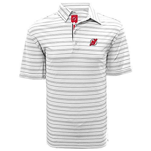 Levelwear LEY9R NHL New Jersey Devils Adult Men Deion Banner Stripe Polo, Medium, White/Black
