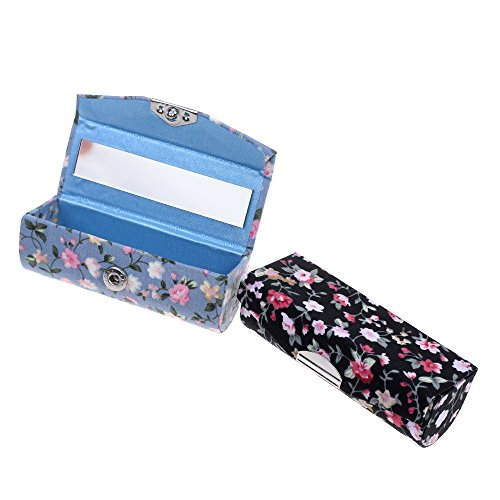 Kloud City Women's 2 Pcs Floral Jacquard Lipstick Case Holder with Mirror Rectangle Fabric Print Makeup Travel ()