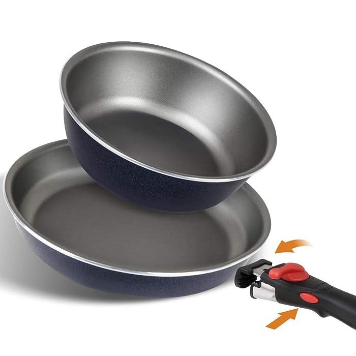 SHINEURI Japan Designed Detachable Handle Titanium Nonstick 3 Pieces Frying Pans Set - 9.5 Frying Pan 8 inch Deep pan for Oven, Induction, Gas,Electric&Stovetops Dishwasher Safe