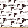 NFL Cotton Broadcloth Atlanta Falcons White Fabric By The Yard