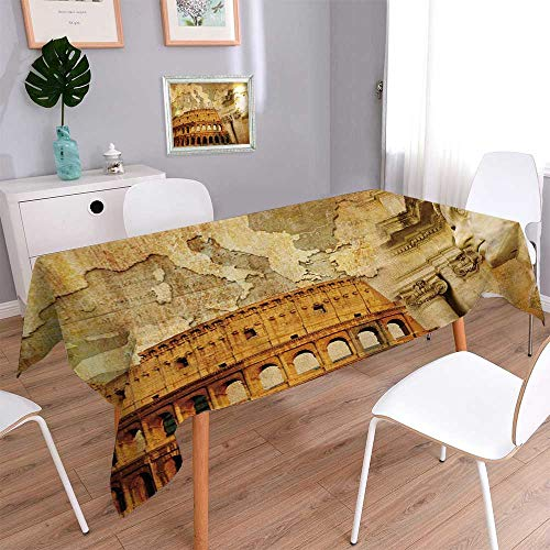 PINAFORE HOME Harmony Scroll Tablecloth Great Roman Empire Conceptual Collage in Retro Style Summer & Outdoor Picnics/W50 x L102 Inch ()