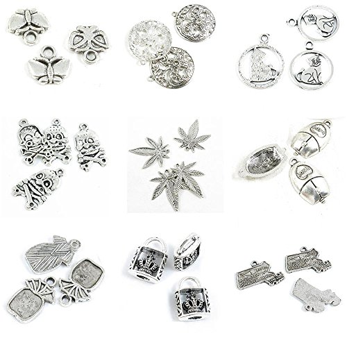 30 PCS Jewelry Making Charms Massachusetts Map Tag Crown Lock Pineapple Cabochon Base Setting Love Mouse -
