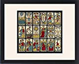 Framed Print of Selection of tarot cards from traditional Marseille pack
