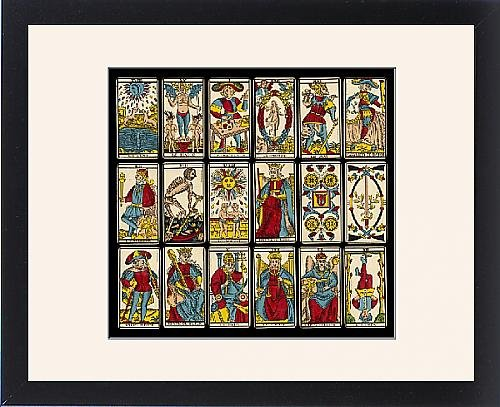 Framed Print of Selection of tarot cards from traditional Marseille pack by Prints Prints Prints