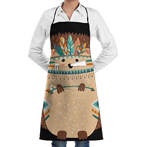 Woodland Tribal Animals Hedgehog Novelty 3D Print Water Resistant Polyester Kitchen Apron With Big Pockets Machine Washable Easy Care Twill Sewing Bib Apron For Cooking BBQ Party (Apron Woodland)