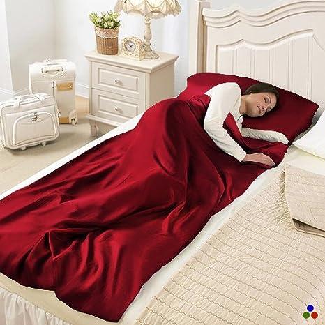 Saco de dormir de seda Rojo rojo Talla:110x217cm: Amazon.es: Deportes y aire libre