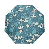 FORMRS Travel Umbrella, Marine Organism Auto Open Umbrella Compact Folding Sun Rain Protection, Windproof for Kids Women Men