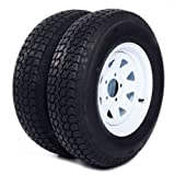 Set of 2 14'' White Spoke Trailer Wheel with Bias ST205/75D14 Tire Mounted (5x4.5) bolt circle