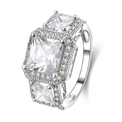 ry 925 Sterling Silver Engagement Rings 4 Prong Setting Princess Cut Cubic Zirconia Size 9 ()