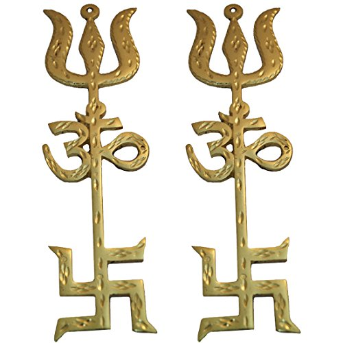 Divya Mantra Combo of Indian Traditional Trishul Om Swastika Yantra Spiritual Metal 8.5