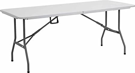 Livivo Heavy Duty 6ft Folding Table Extra Strong Multi Purpose Trestle Suitable For Indoor And Outdoor Use Folds For Storage With Carry Handle One Table Amazon Co Uk Kitchen Home