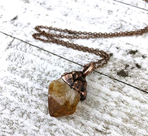 Raw Citrine Crystal Pendant Necklace Small Yellow Stone Boho Layering Jewelry for Women