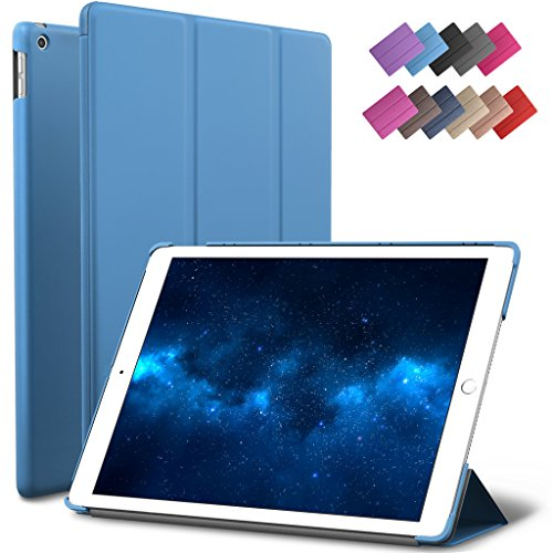 New iPad 9.7-inch 2018 2017 Case, ROARTZ Blue Slim-Fit Smart Rubber Folio Case Hard Cover Light-Weight Wake Sleep For Apple iPad 5th 6th generation Retina Model A1893 A1954 A1822 (5th Generation Snap)