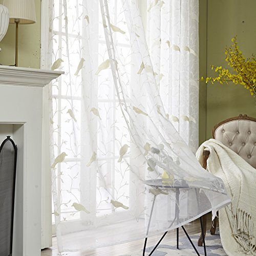 VOGOL Faux Linen Embroidered Bird Design Sheer Curtains Elegant Off White Rod Pocket Window Drapes/Panels for Living Room, 60 x 96,Two Panels