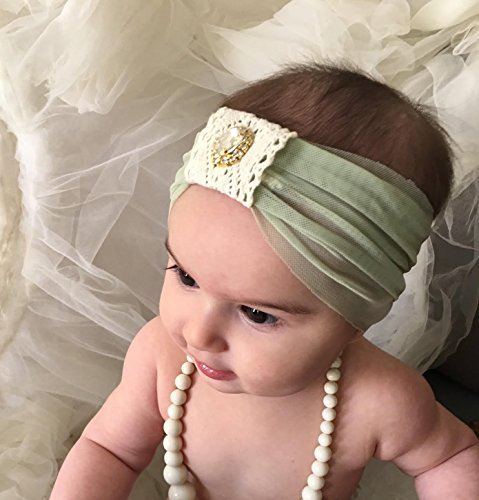 Green Baby Girl Headband By Yasmine | Made with Crochet and Rhinestone