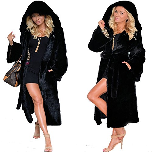 Roiii Womens Winter Luxury Outerwear Long Sleeve Faux Mink Faux Fur Plus Size Hooded Coat (3XL, 7028 Black) ()