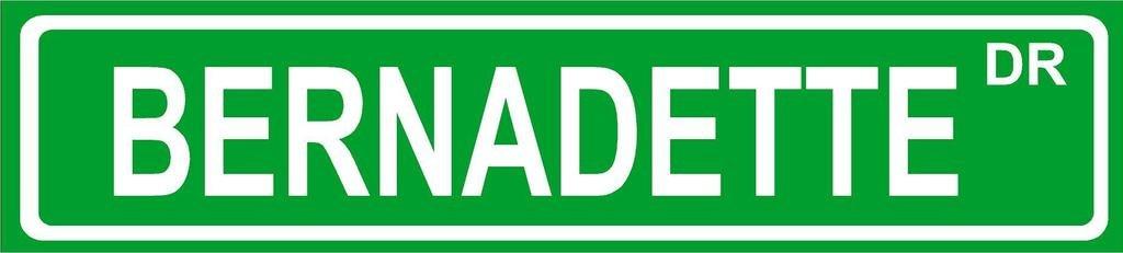 BERNADETTE Green Aluminum Street sign 4''x18'' great Décor for any room girls name