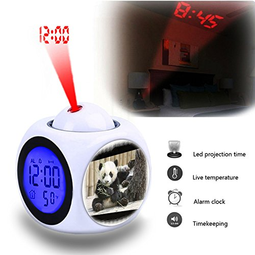 388 Series - Projection Alarm Clock Wake Up Bedroom with Data and Temperature Display Talking Function, LED Wall/Ceiling Projection,Cute animals, nature, panda series 388