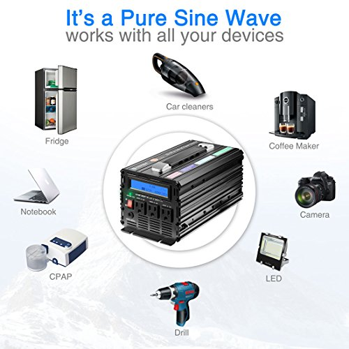 Novopal 1000 Watt Pure Sine Wave Power Inverter 3 AC Outlets DC 12v to AC 120v with Remote Control, Big LCD Display( Surge 2000W) by novopal (Image #4)