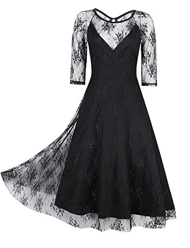 glorysunshine women vintage lace net 34 sleeve swing sexy