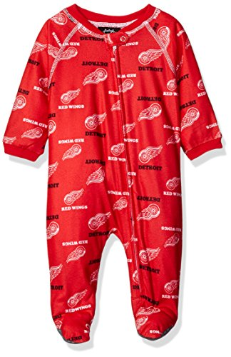 NHL Detroit Red Wings Newborn Boys Sleepwear All Over Print Zip Up Coveralls, 6-9 Months, Red