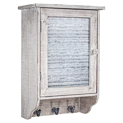 (American Art Décor Rustic Whitewashed Wood and Metal Hanging Storage Cabinet with Shelves and Hooks – Farmhouse Décor )