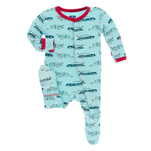 (Kickee Pants Little Boys Print Footie With Snaps - Shining Sea Woody, 0-3 Months)